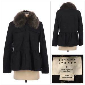 Kate Spade Faux Fur Military jacket coat black S